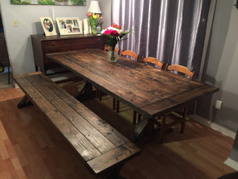 Rustic Trestle Table and Bench Collection