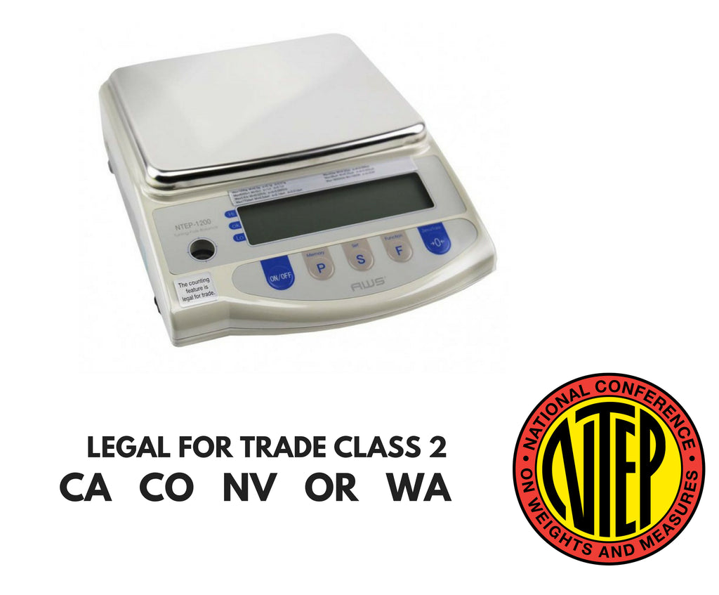 Intelligent-Weigh  AWS-NTEP-1200 Compact Precision Balance | Class 2 Legal For Trade Scale  Precision Balance | Way Up Scales