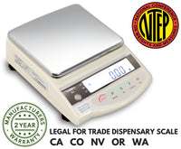 Vibra  Vibra AJ-1200 Class II NTEP Approved Dispensary Balance  Precision Balance | Way Up Scales