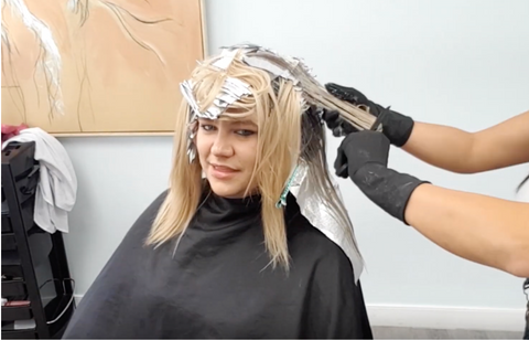 foils in woman hair