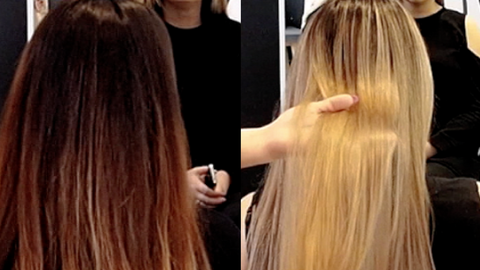 0ec562c178fc today jessica is taking kim s hair from a faded brassy brunette to  beautiful ASH BLONDE HAIR. since kim hasn t been in jessica s chair since  november