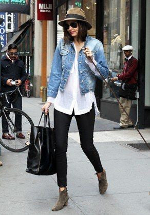 white shirt denim jacket
