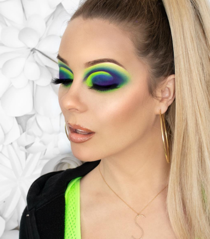 spring makeup neon eyes by @stevie.cakes