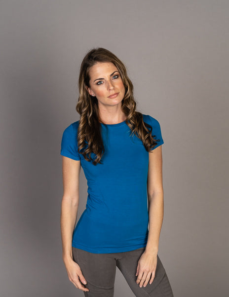 Majestic Short Sleeve Crewneck Tee with Finished Trim in Fidji Blue