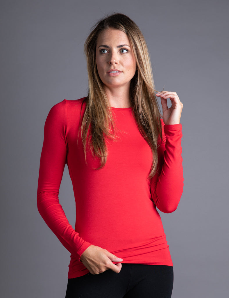 Majestic Long Sleeve Viscose Crewneck in Cherry