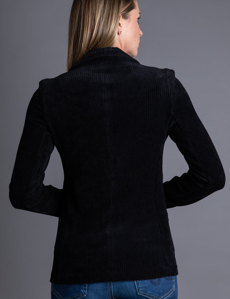 Majestic Velour Ribbed One Button Blazer