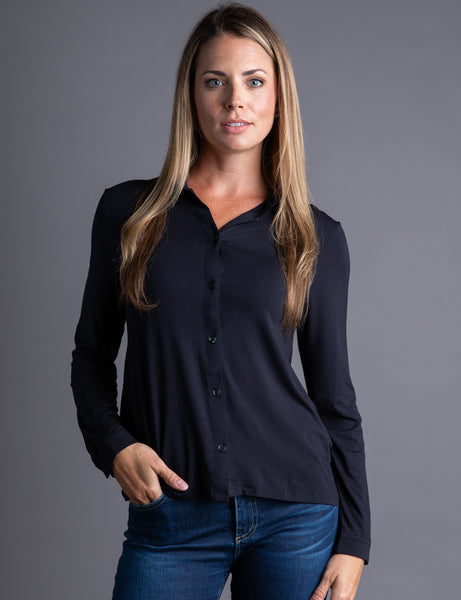 Majestic Long Sleeve Button Down in Marine