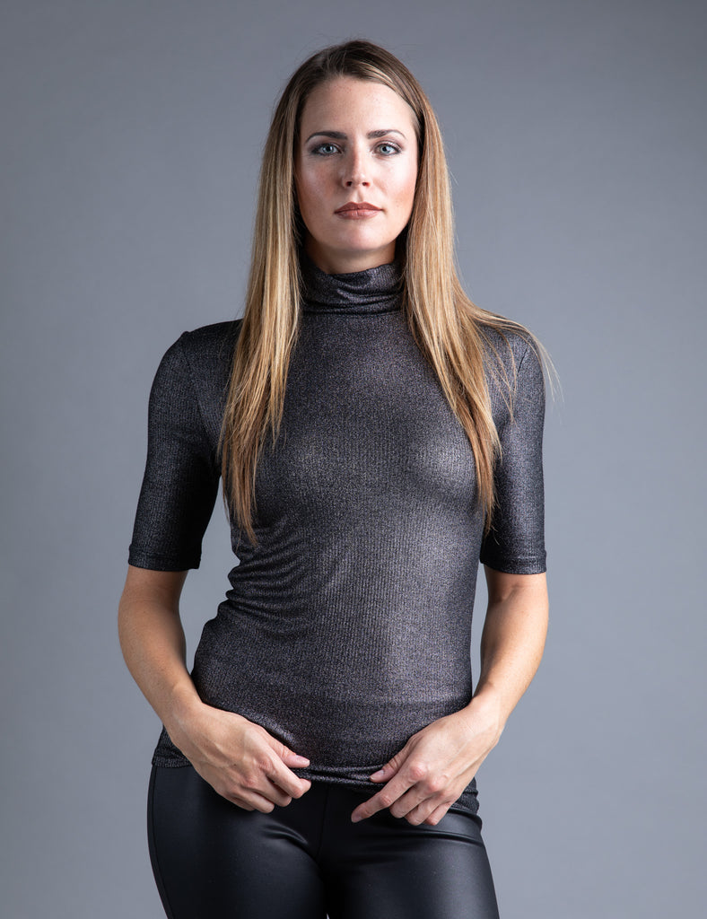 Majestic Metallic Ribbed Elbow Sleeve Turtleneck in Metal Noir