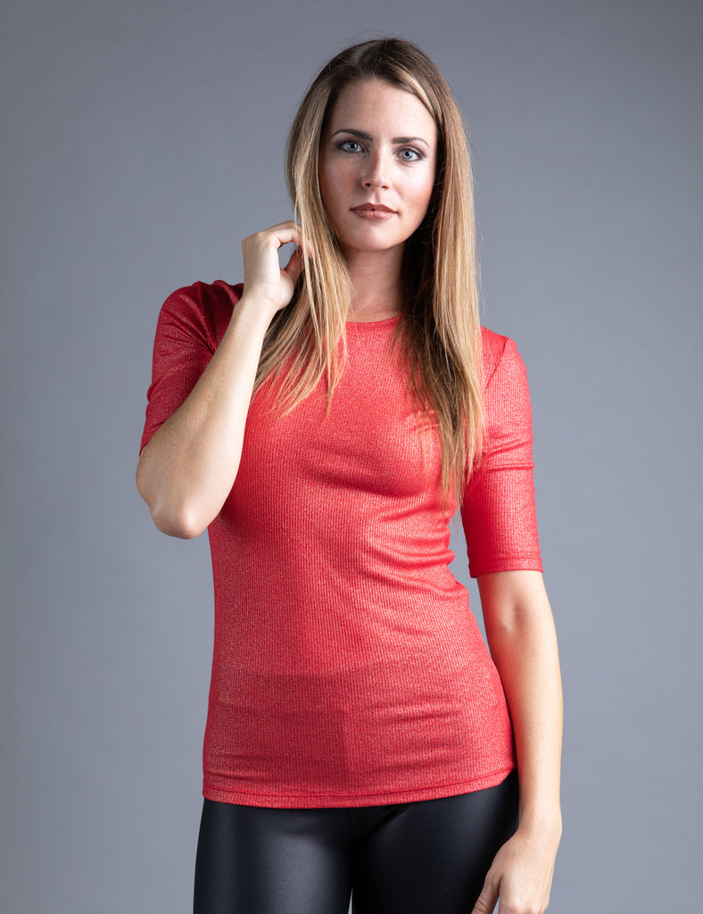 Majestic Metallic Ribbed Elbow Sleeve Crewneck in Metal Red