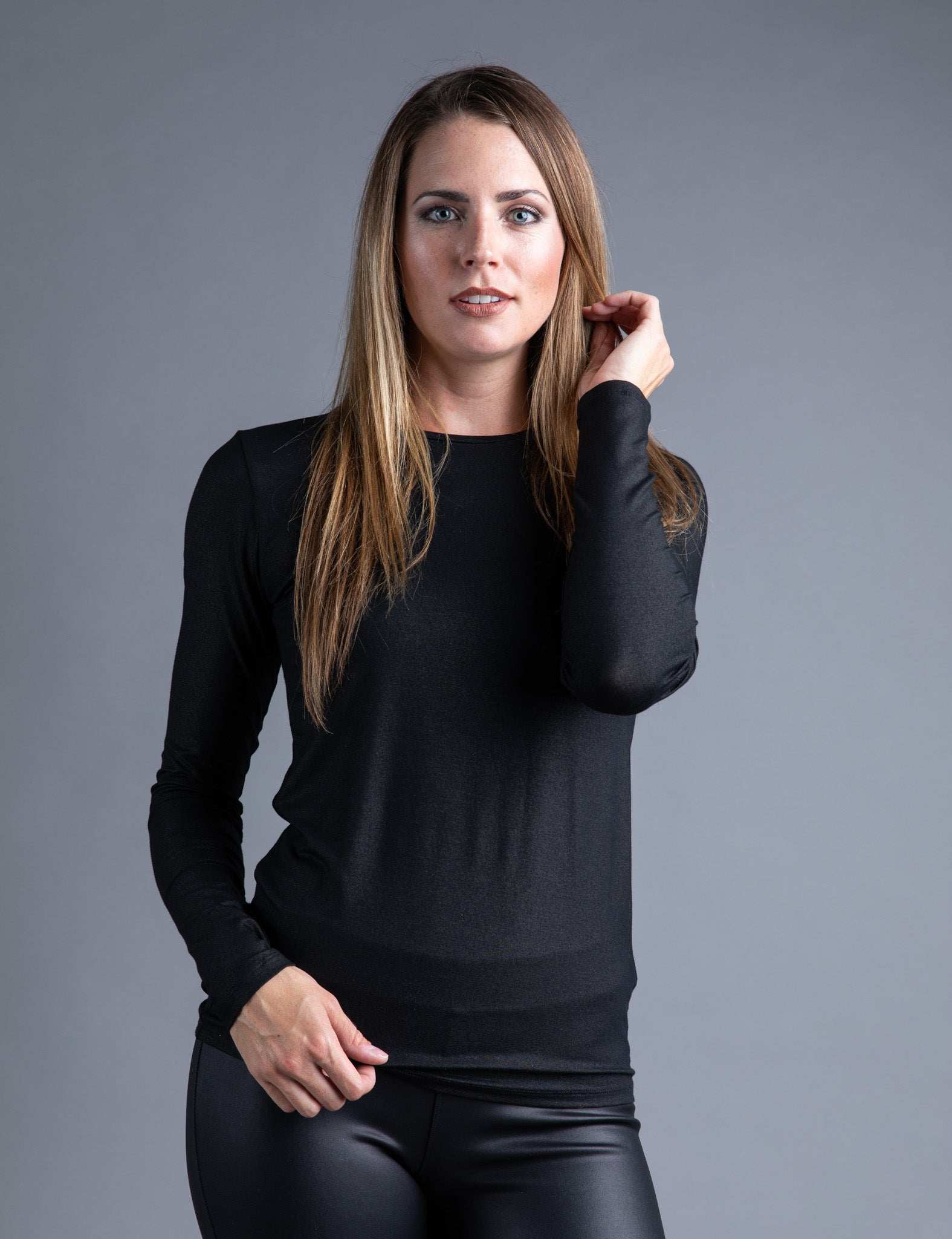 Majestic Metallic Long Sleeve Crewneck in  Metal Black