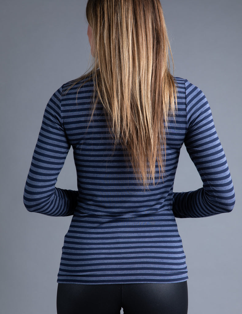 Majestic Long Sleeve Viscose Striped Crewneck in Denim/Marine