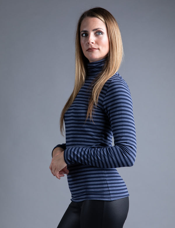 Majestic Long Sleeve Viscose Striped Turtleneck in Denim/Marine