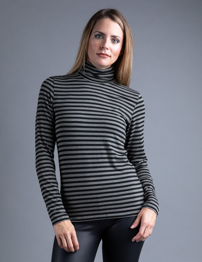 Majestic Long Sleeve Viscose Striped Turtleneck in Khaki/Noir