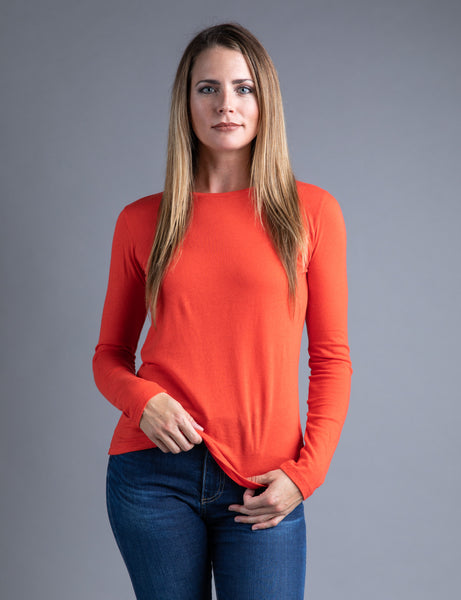 Majestic Long Sleeve Cotton/Cashmere Tee in Coquellicot