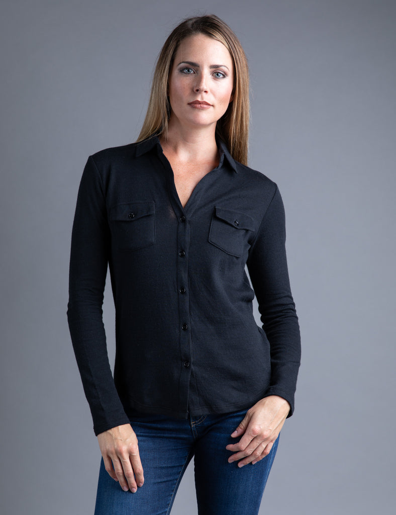 Majestic Long Sleeve Cotton/Cashmere Button Down in Noir/Anthracite