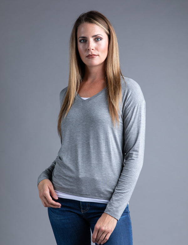 Majestic Long Sleeve Double Layer V-neck in Heather Grey