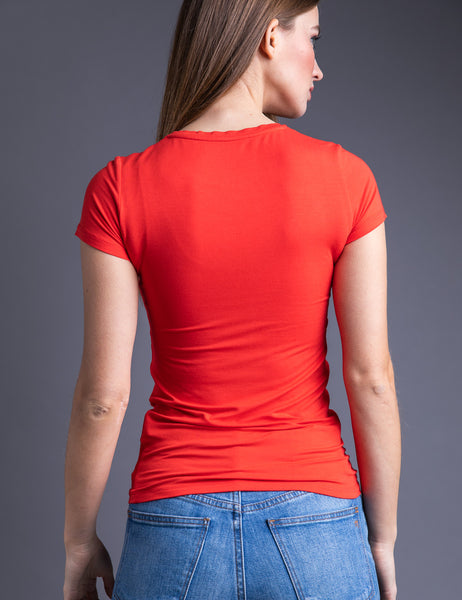 Majestic Short Sleeve Crewneck Tee with Finished Trim in Coquelicot