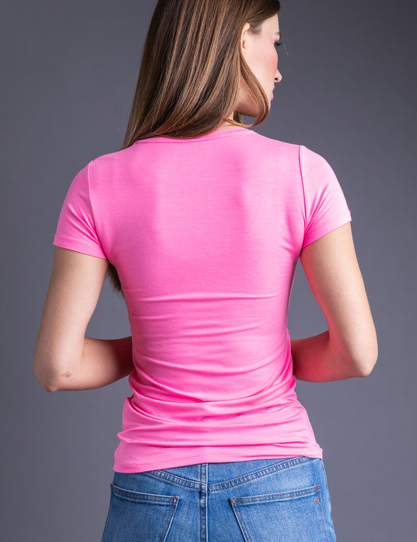 Majestic Short Sleeve Crewneck Tee with Finished Trim in Rose