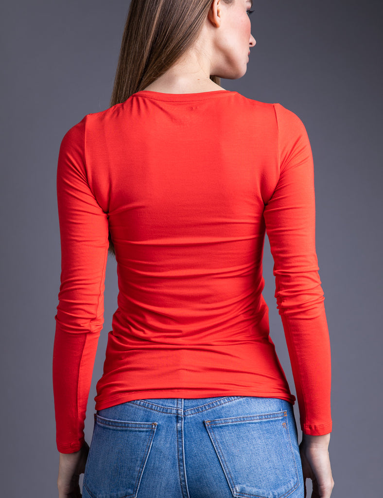 Majestic Long Sleeve Viscose Crewneck in Coquelicot