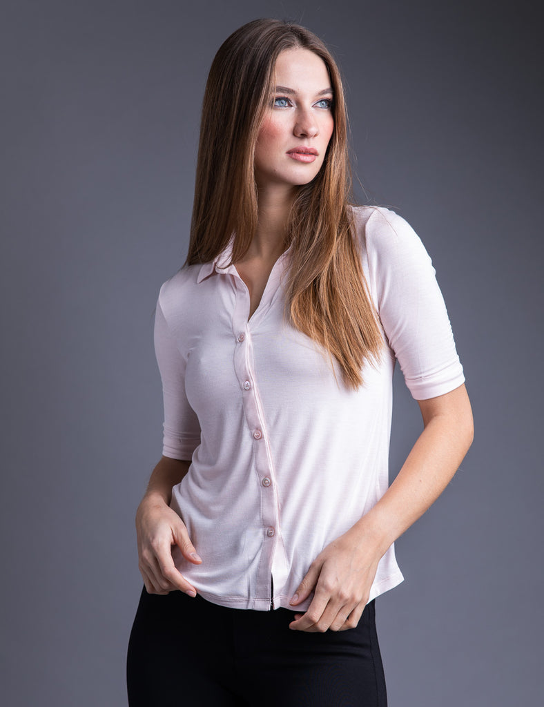 Majestic 3/4 Sleeve Viscose Relaxed Button Down Shirt in Petale