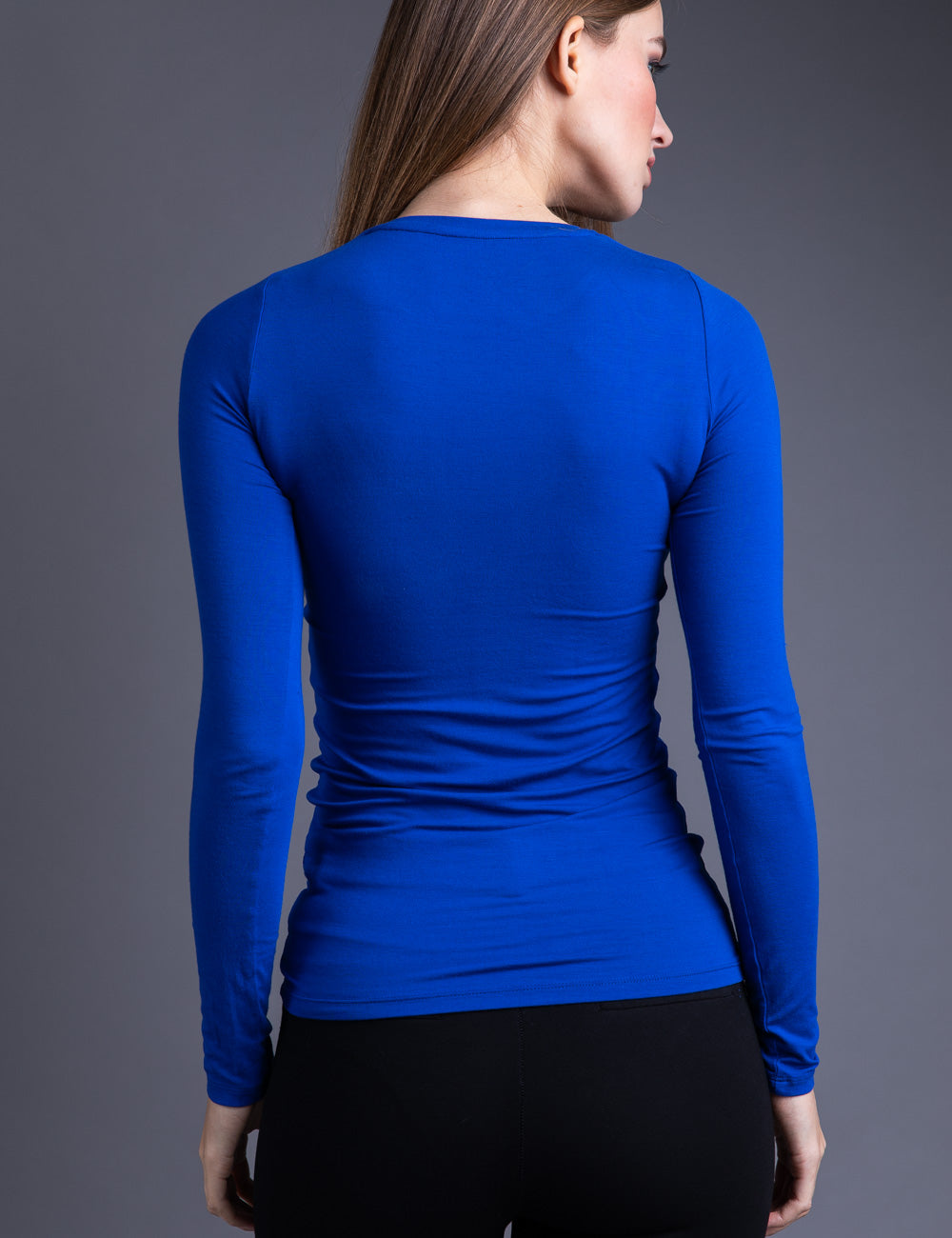 Majestic Long Sleeve Viscose Crewneck in Portofino Blue