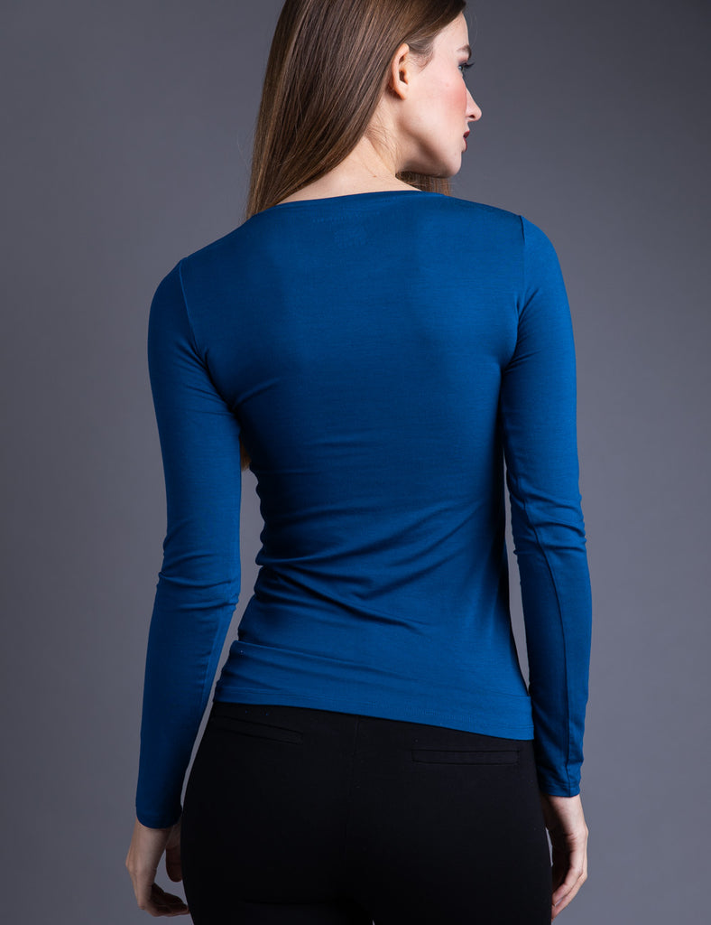 Majestic Long Sleeve Viscose Crewneck in Notte