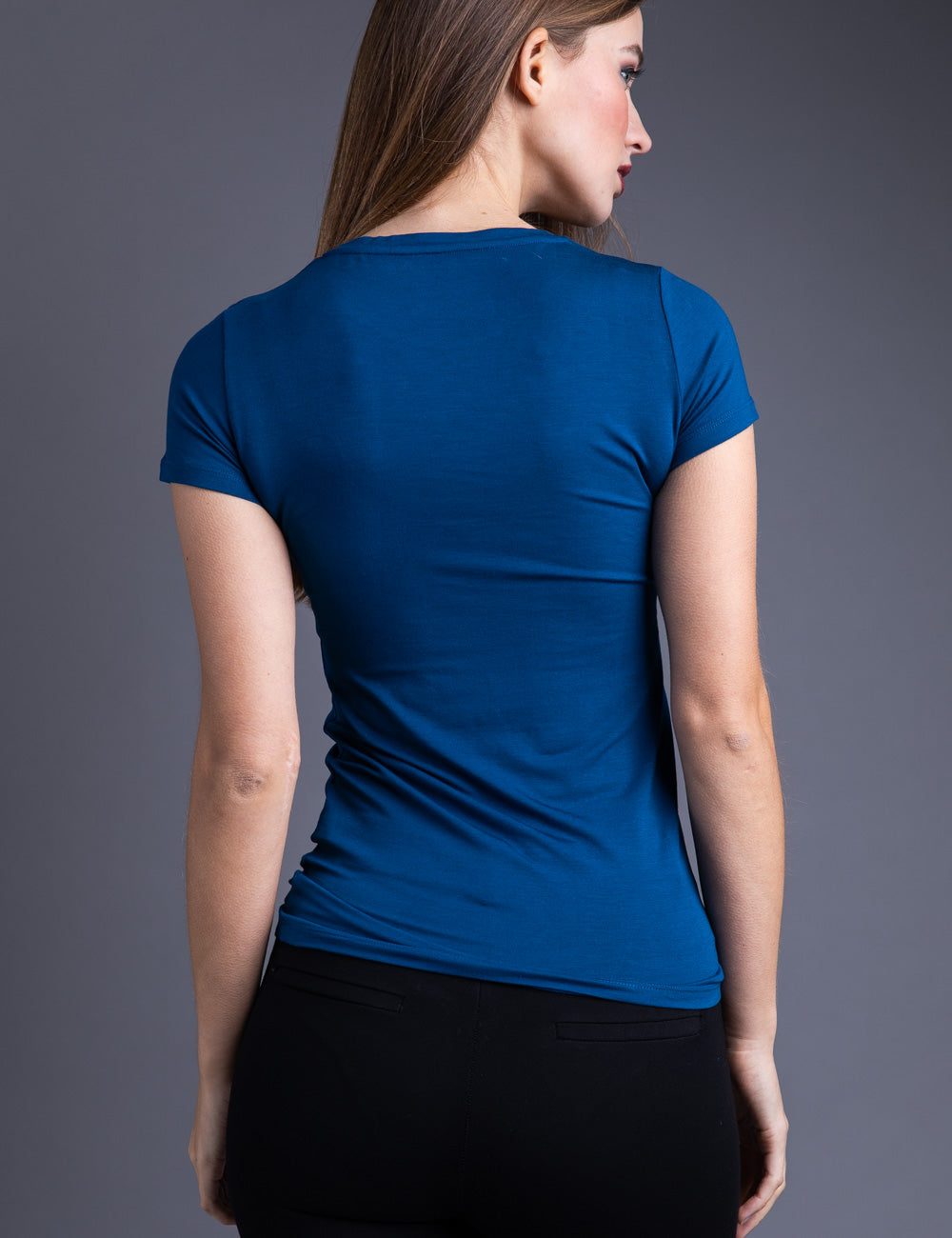 Majestic Short Sleeve Crewneck Tee with Finished Trim in Notte