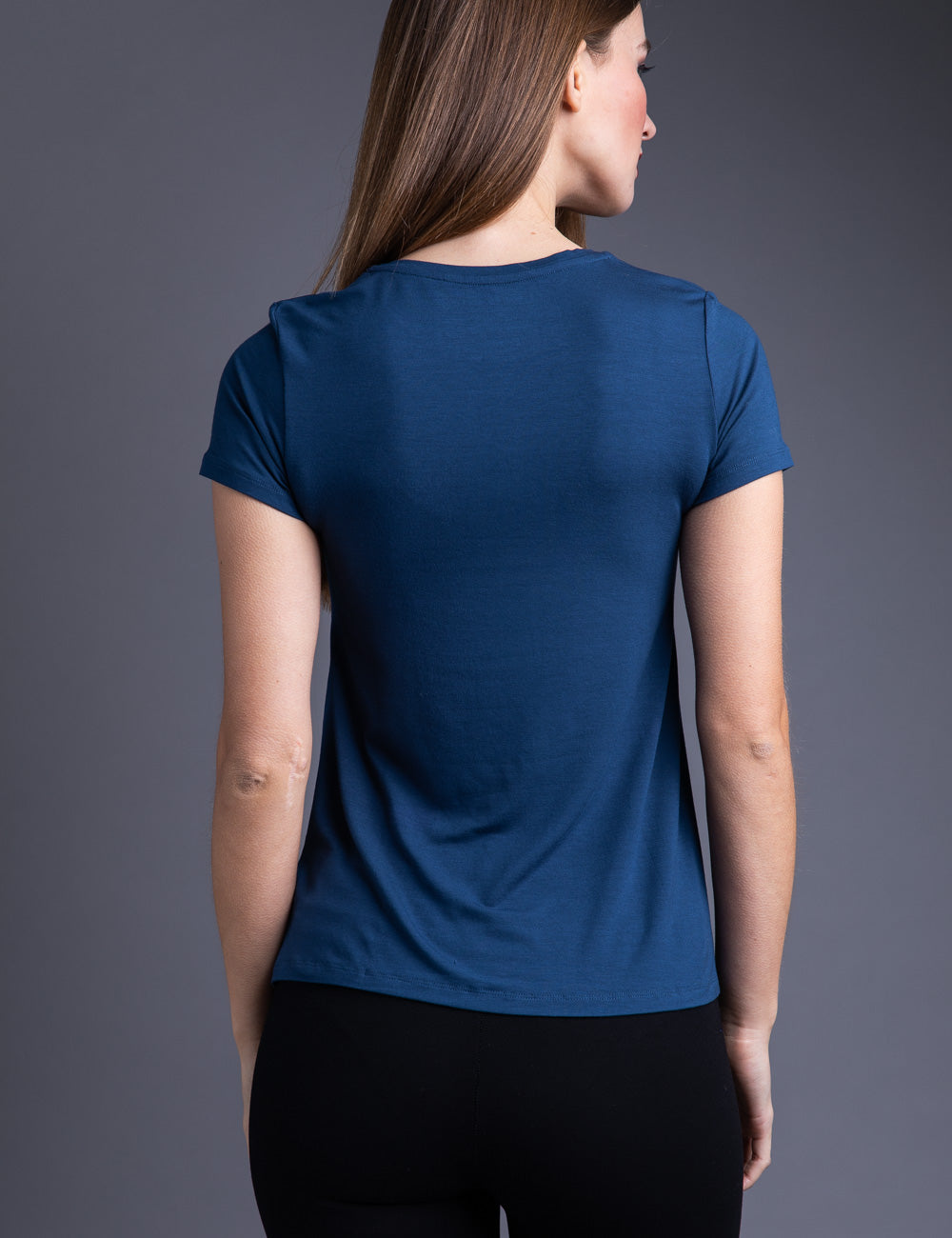 Majestic Short Sleeve A- Line Crewneck Tee in Bleu Nuit