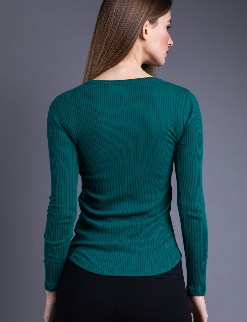 Majestic Long Sleeve Cotton/Cashmere Ribbed Crewneck in Forest