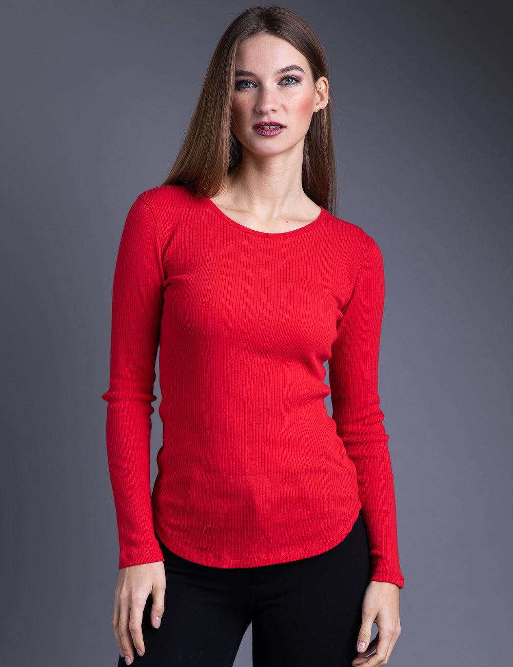 Majestic Long Sleeve Cotton/Cashmere Ribbed Crewneck in Cherry