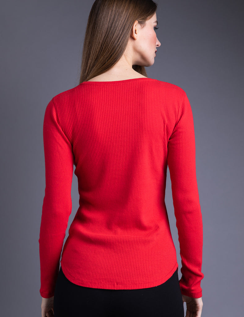 Majestic Long Sleeve Cotton/Cashmere Ribbed V-Neck in Cherry