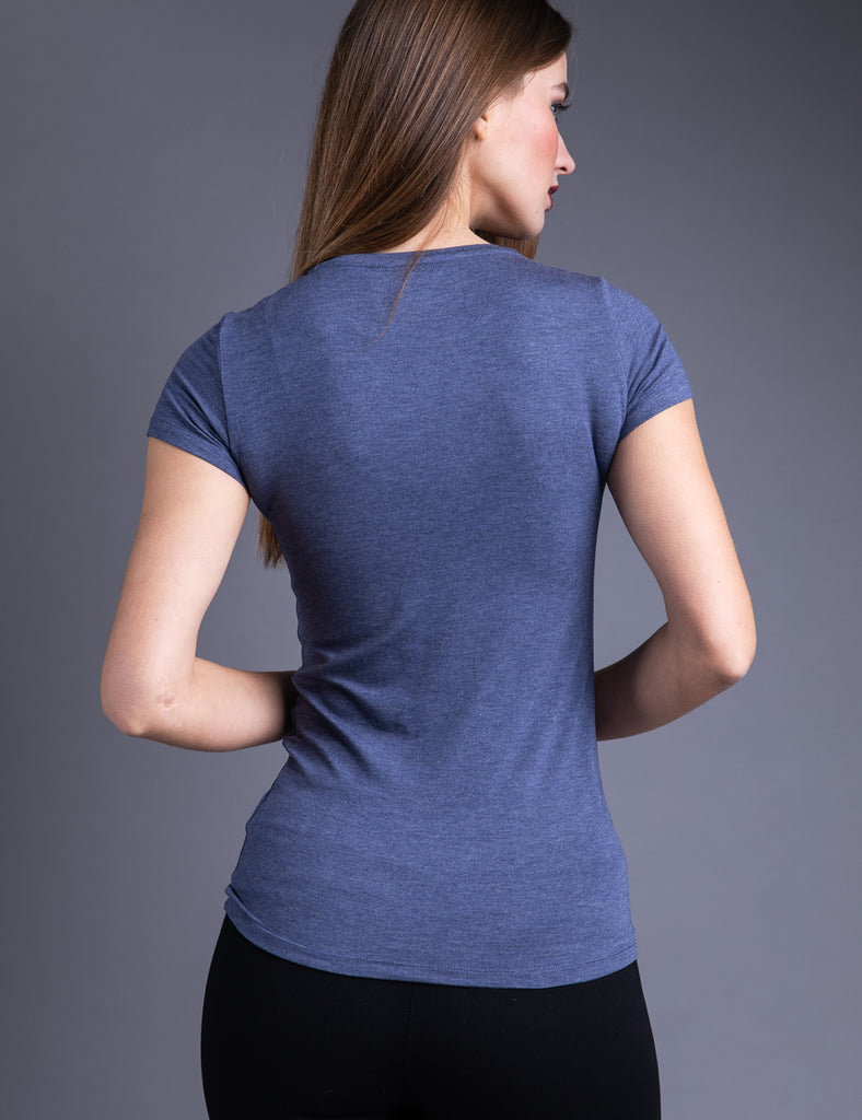 Majestic Short Sleeve Crewneck Tee in Denim