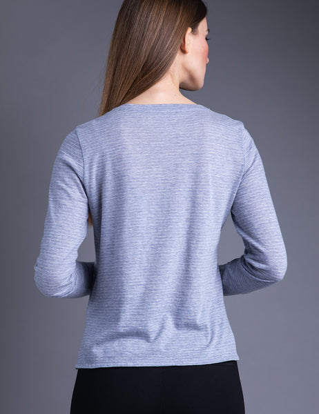 Majestic Long Sleeve Cotton/Cashmere Stripe Crew in Ciel Chine/Milk