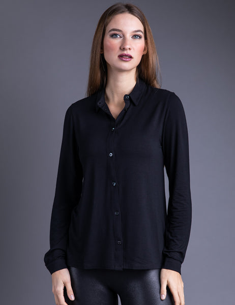 Majestic Long Sleeve Viscose Button Down Shirt in Noir