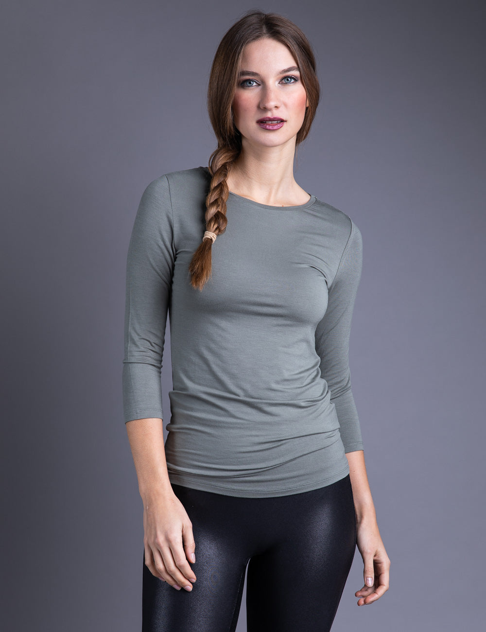 Majestic 3/4 Sleeve Viscose Boatneck Tee in Kaki Army
