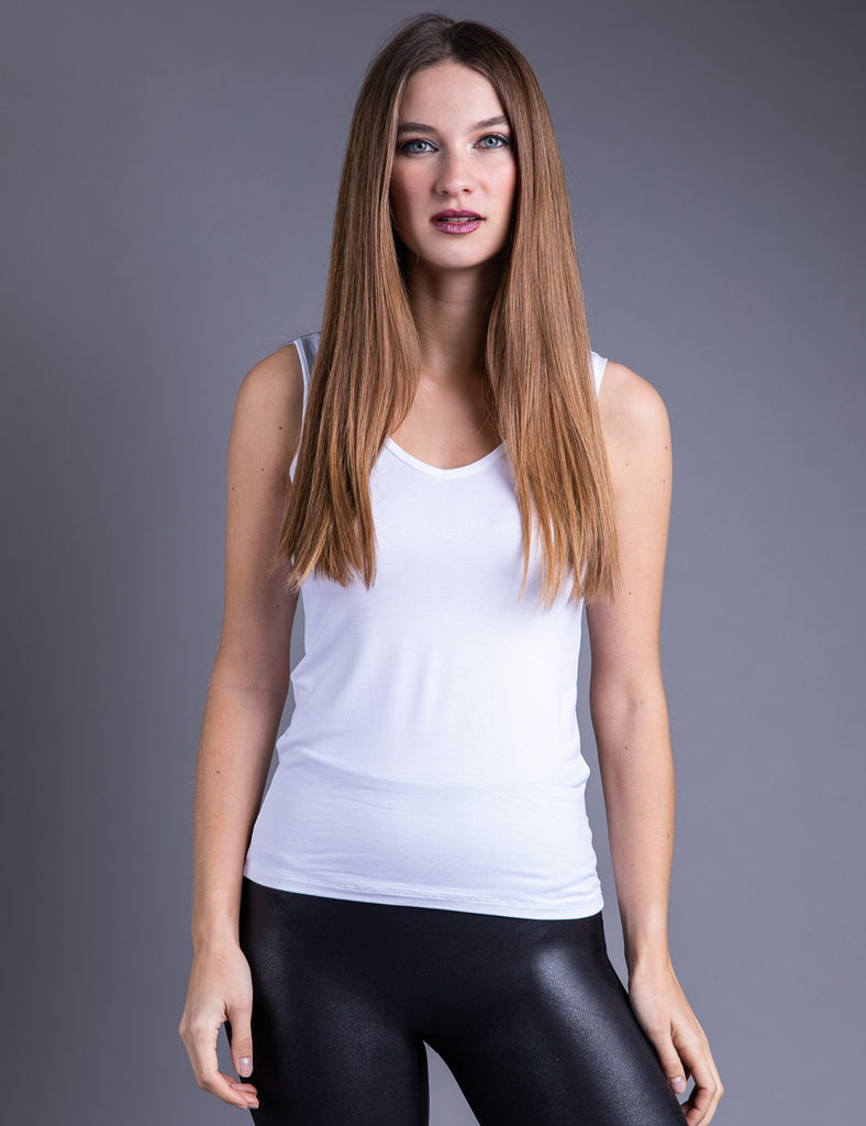 Majestic Flat Edge V Neck Viscose Tank in Blanc