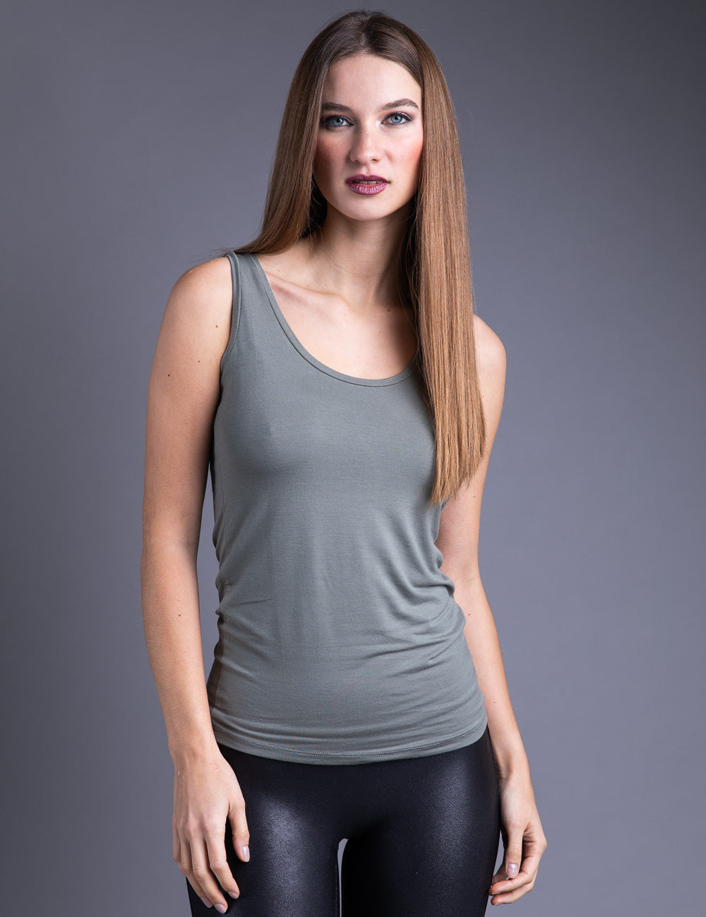 Majestic Flat Edge Scoop Viscose Tank in Kaki Army