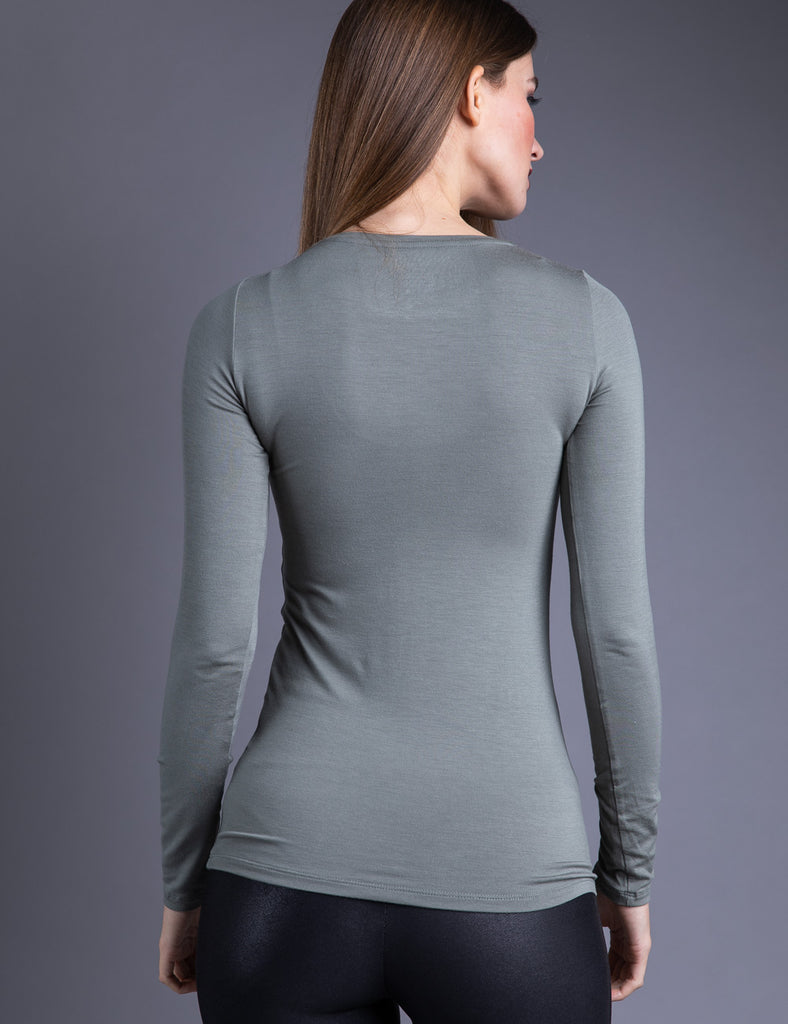 Majestic Long Sleeve Viscose Crewneck in Kaki Army