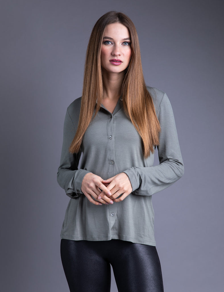 Majestic Long Sleeve Viscose Button Down Shirt in Kaki Army