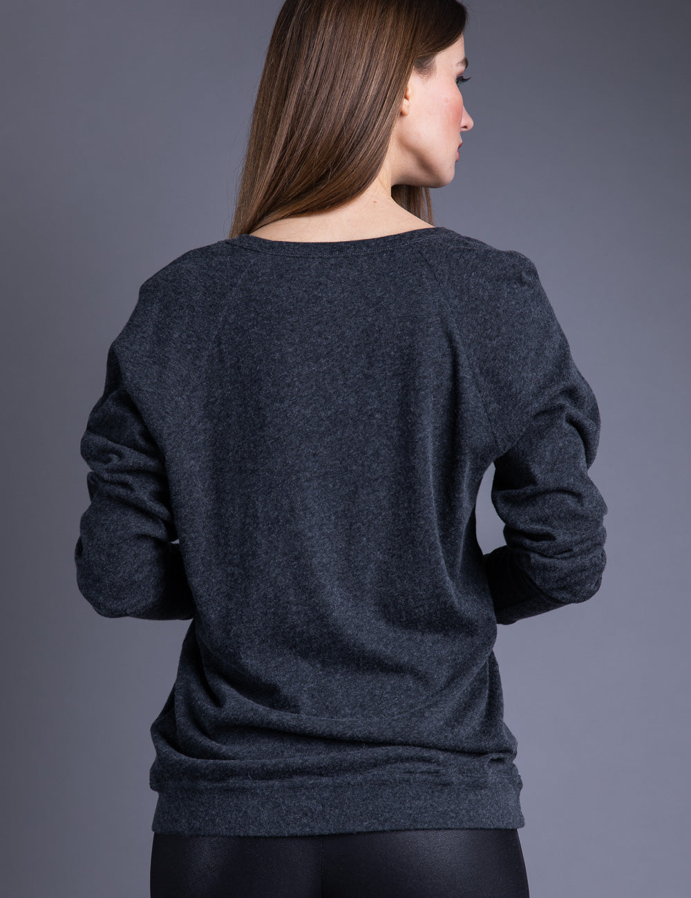 Majestic Long Sleeve Cotton/Cashmere Oversized Pullover in Anthracite