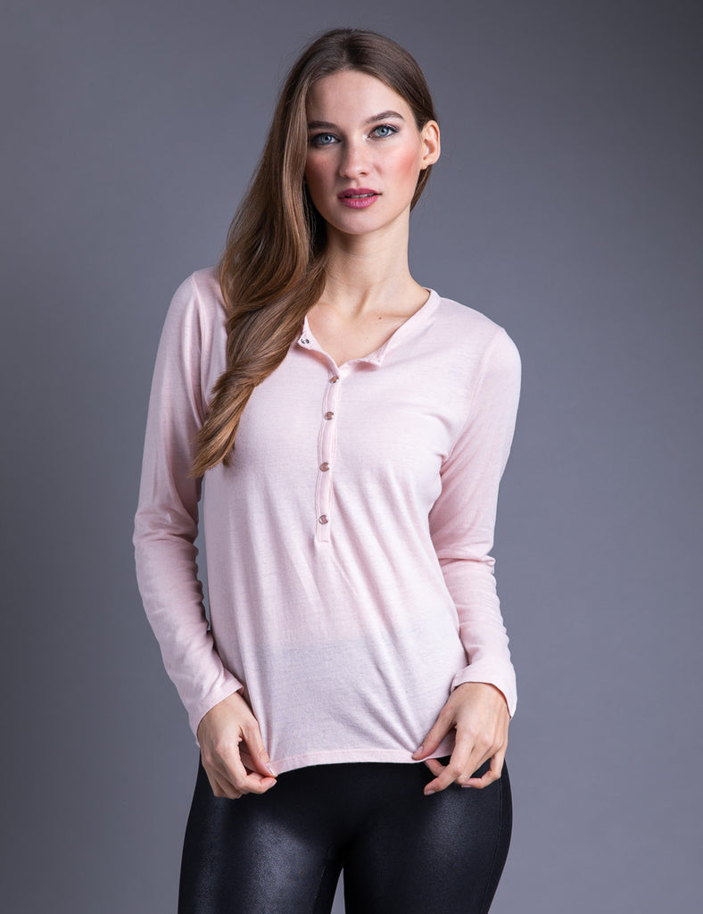 Majestic Long Sleeve Cotton/Cashmere Henley in Rose Poudre