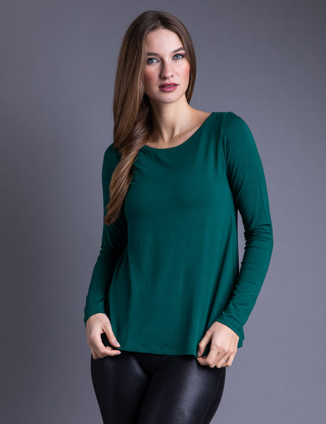 Majestic Long Sleeve Viscose A-Line Boatneck Tee in Forest