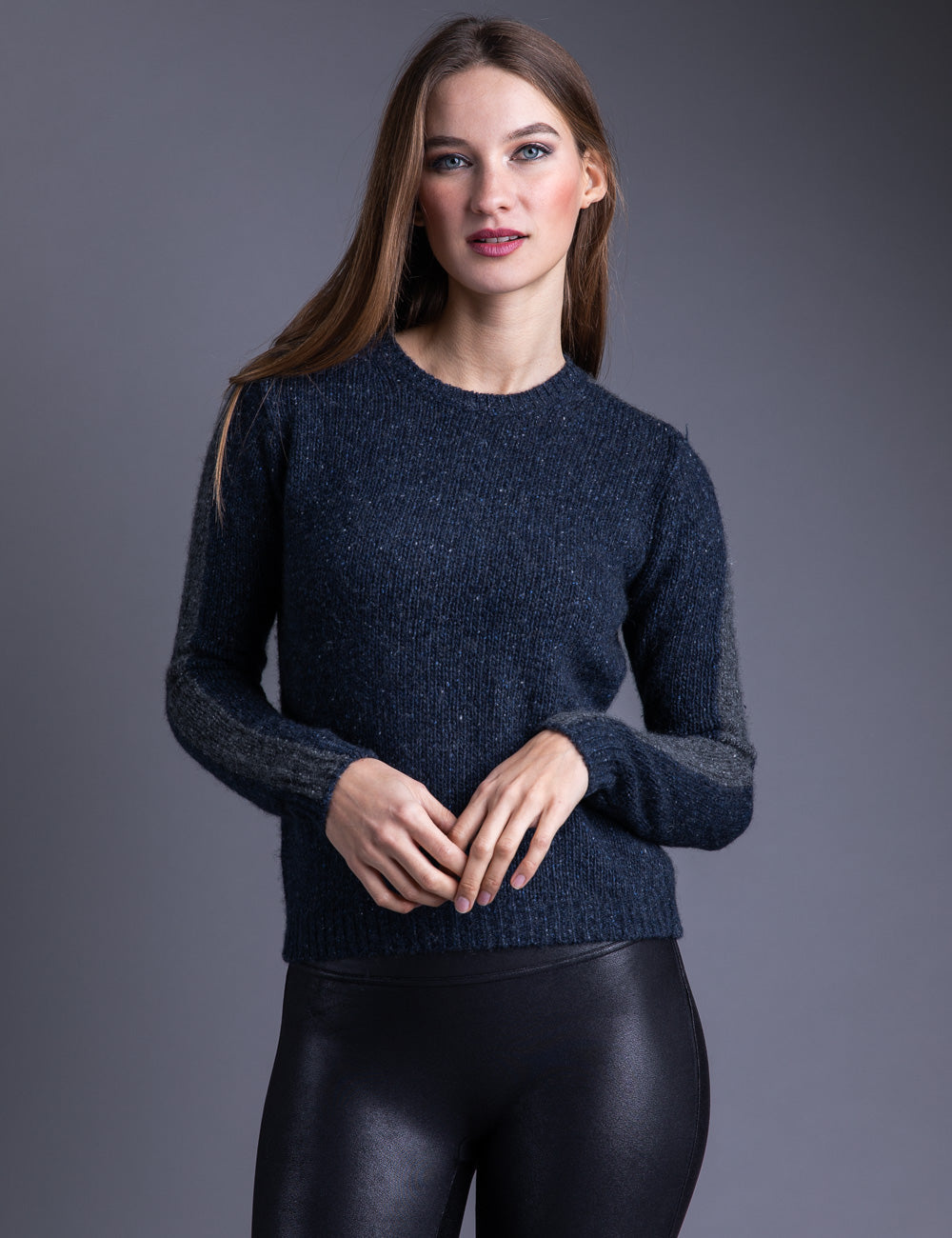 Majestic Long Sleeve Cashmere Crewneck in Marine Chine