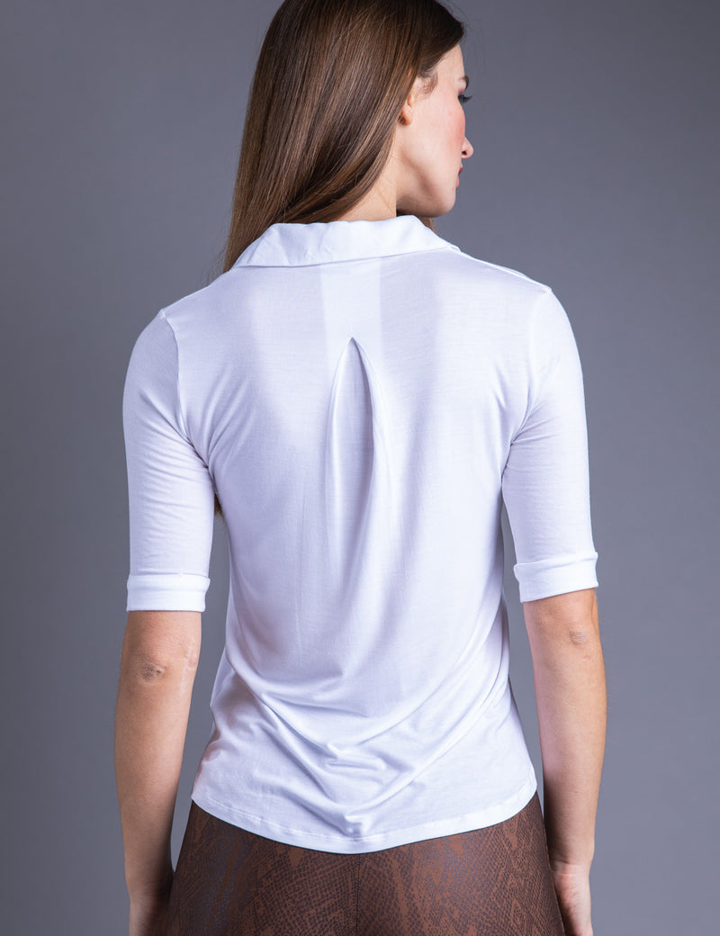Majestic 3/4 Sleeve Viscose Relaxed Button Down Shirt in Blanc