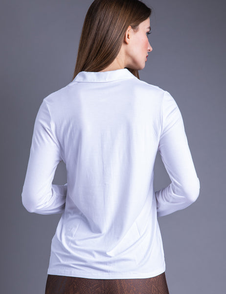Majestic Long Sleeve Viscose Button Down Shirt in Blanc