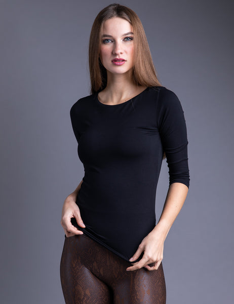 Majestic 3/4 Sleeve Viscose Boatneck Tee in Noir