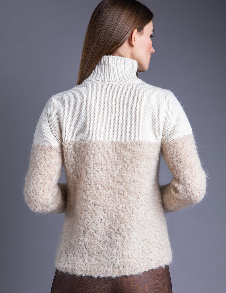 Majestic Cashmere Turtleneck with Kidmohair Piece in Ecru/Sand