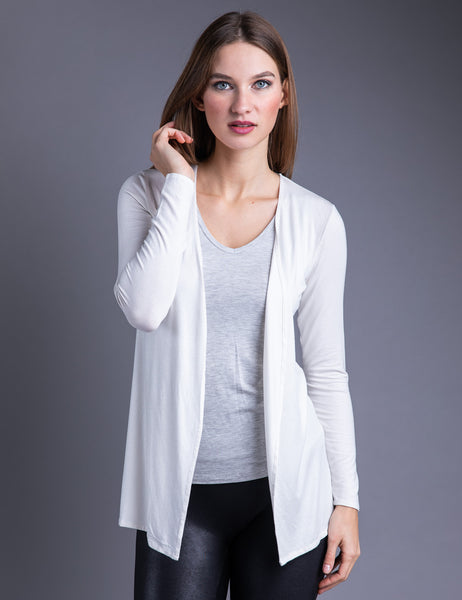 Majestic Metallic Open Cardigan in Metal Silver