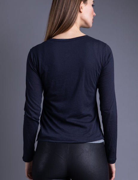 Majestic Long Sleeve Cotton/Cashmere Double Layer Henley in Marine/Gris