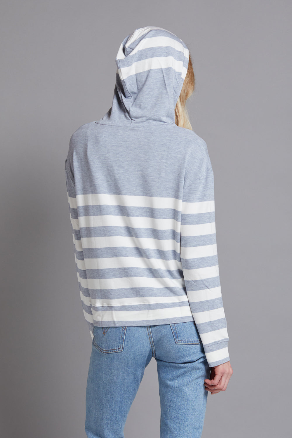 Majestic Long Sleeve French Terry Hoodie in Grey/Ecru